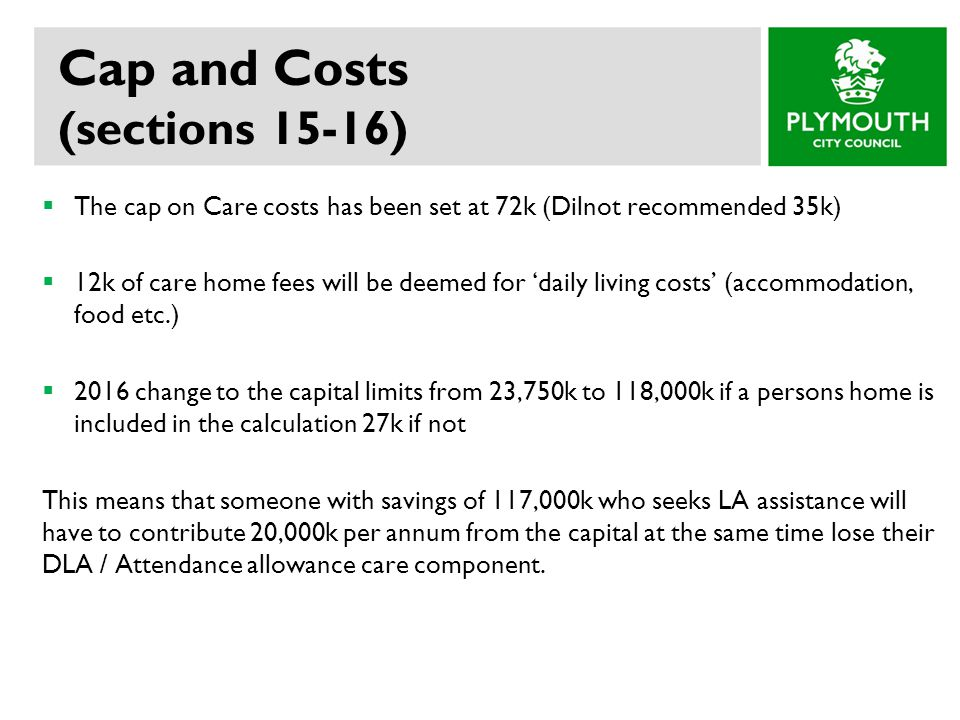 Cap and Costs (sections 15-16)