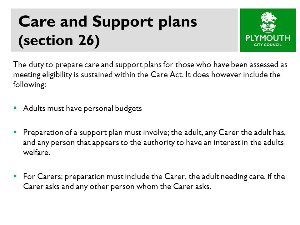 Care and Support plans (section 26)