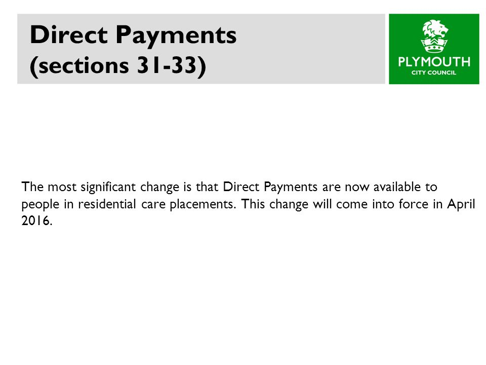Direct Payments (sections 31-33)