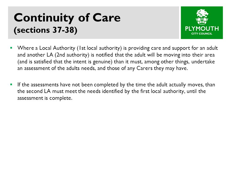 Continuity of Care (sections 37-38)