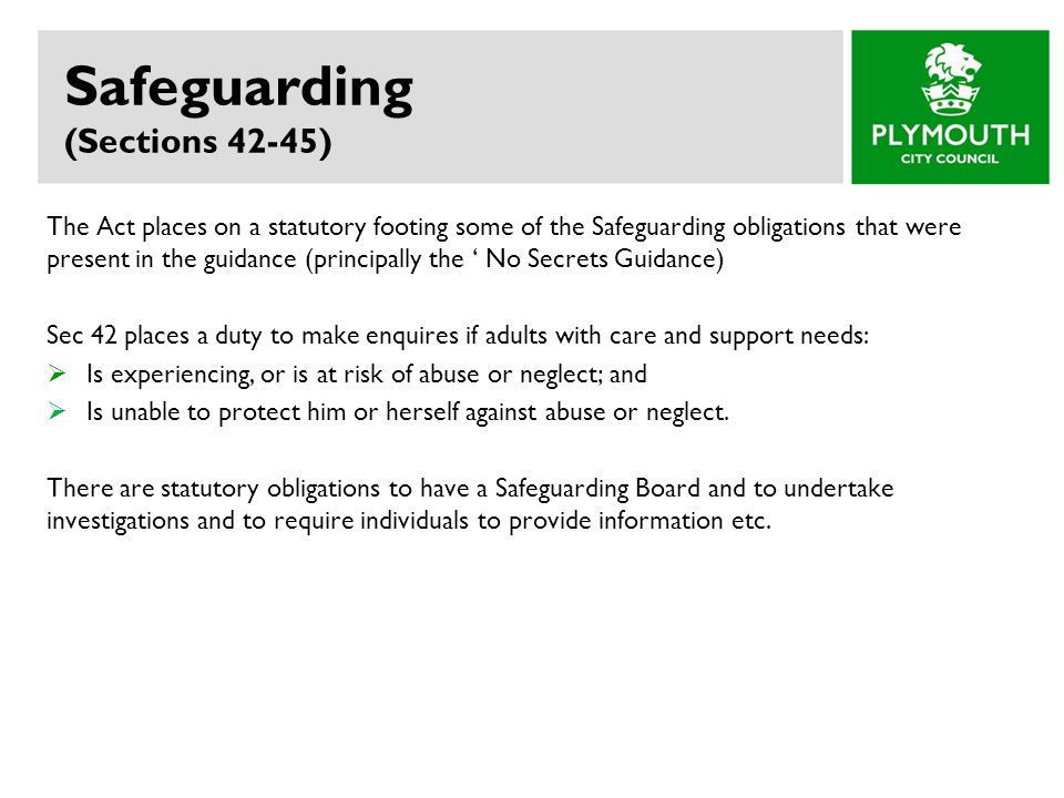 Safeguarding (Sections 42-45)