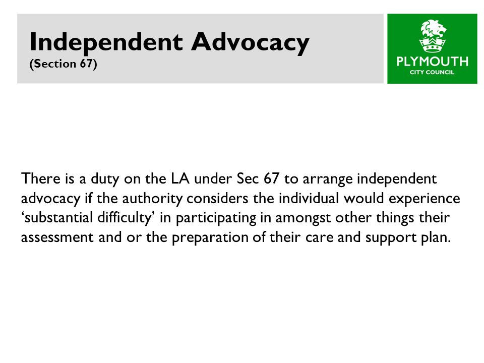 Independent Advocacy (Section 67)