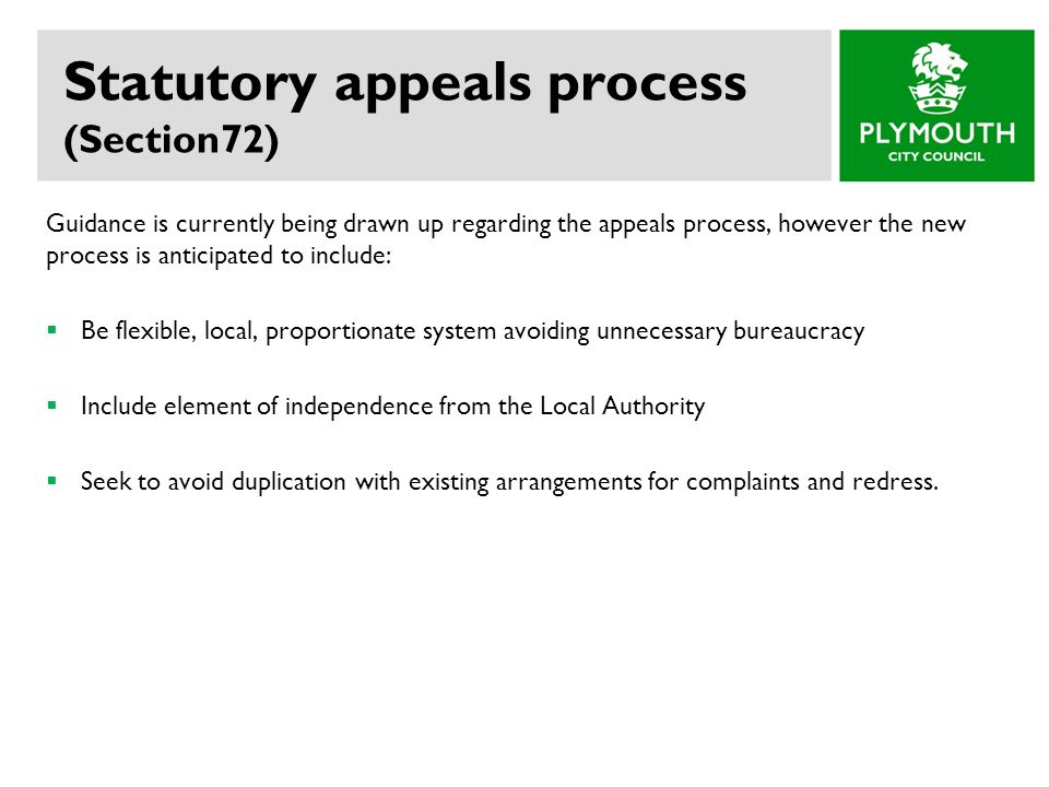 Statutory appeals process (Section72)