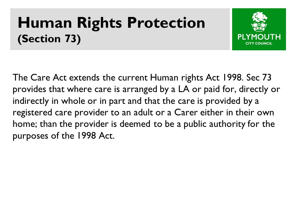Human Rights Protection (Section 73)