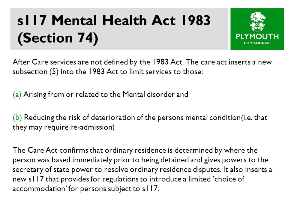 s117 Mental Health Act 1983 (Section 74)
