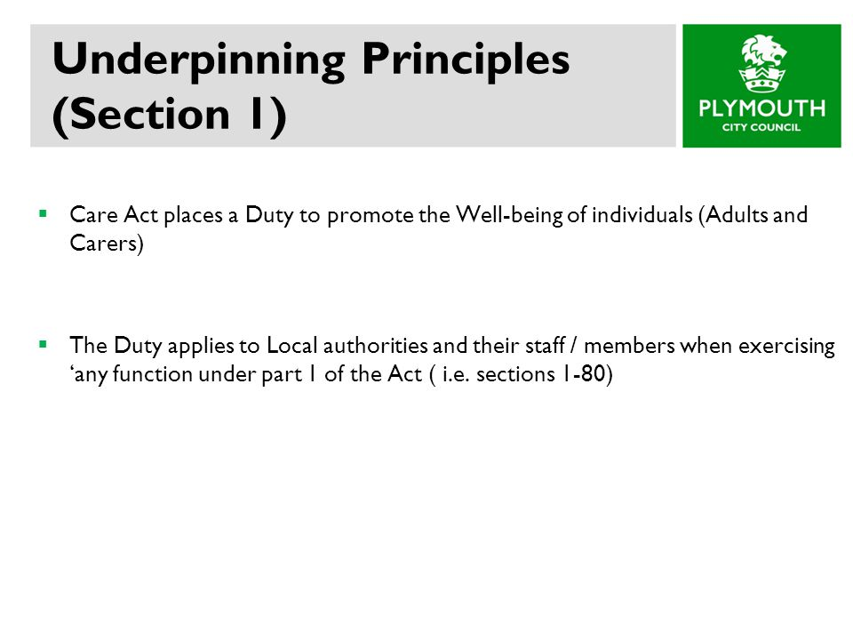 Underpinning Principles (Section 1)