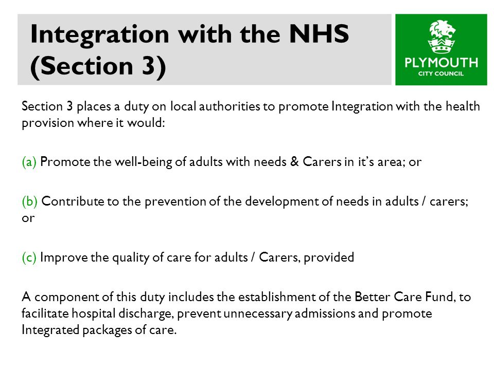 Integration with the NHS (Section 3)