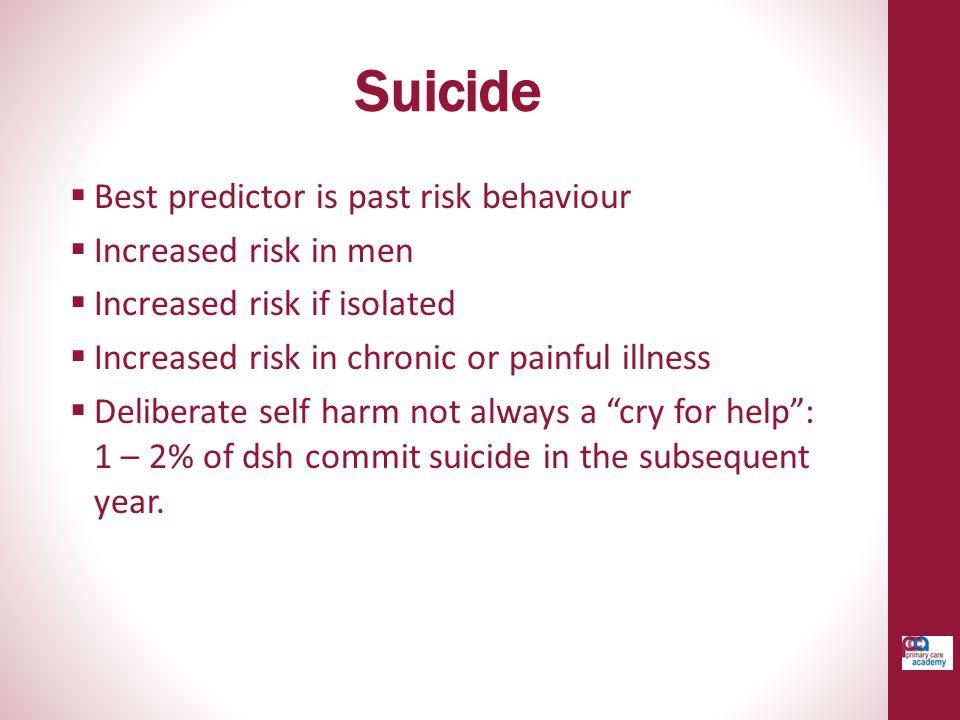 Suicide Best predictor is past risk behaviour Increased risk in men