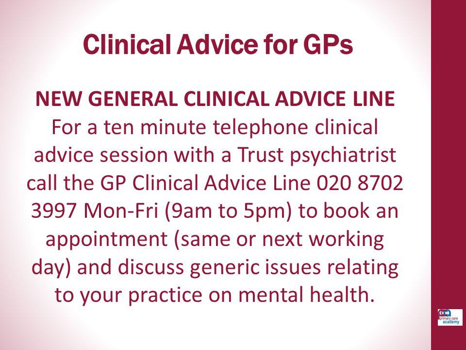 Clinical Advice for GPs