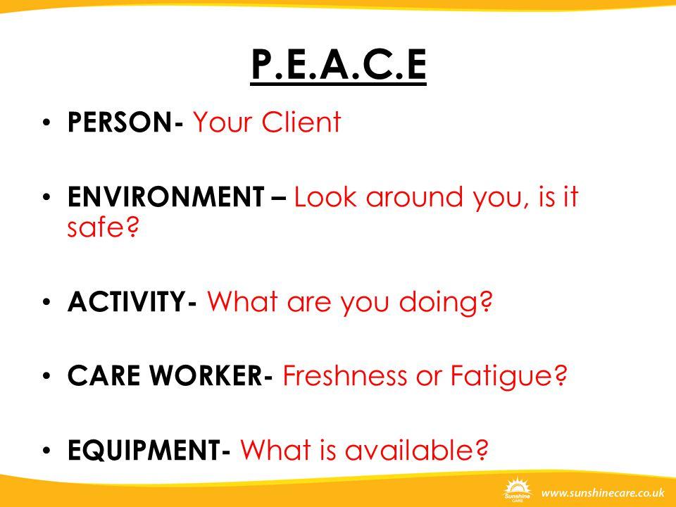P.E.A.C.E PERSON- Your Client