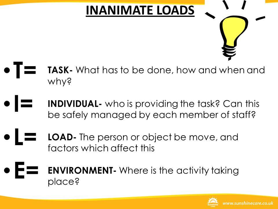 T= I= L= E= INANIMATE LOADS