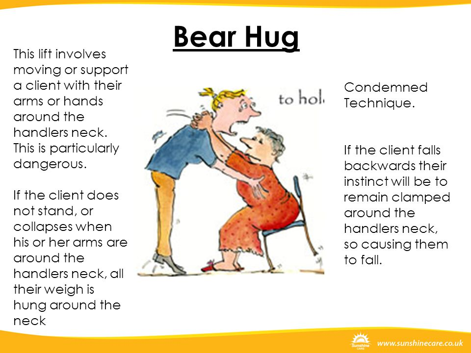 Bear Hug This lift involves moving or support a client with their arms or hands around the handlers neck. This is particularly dangerous.