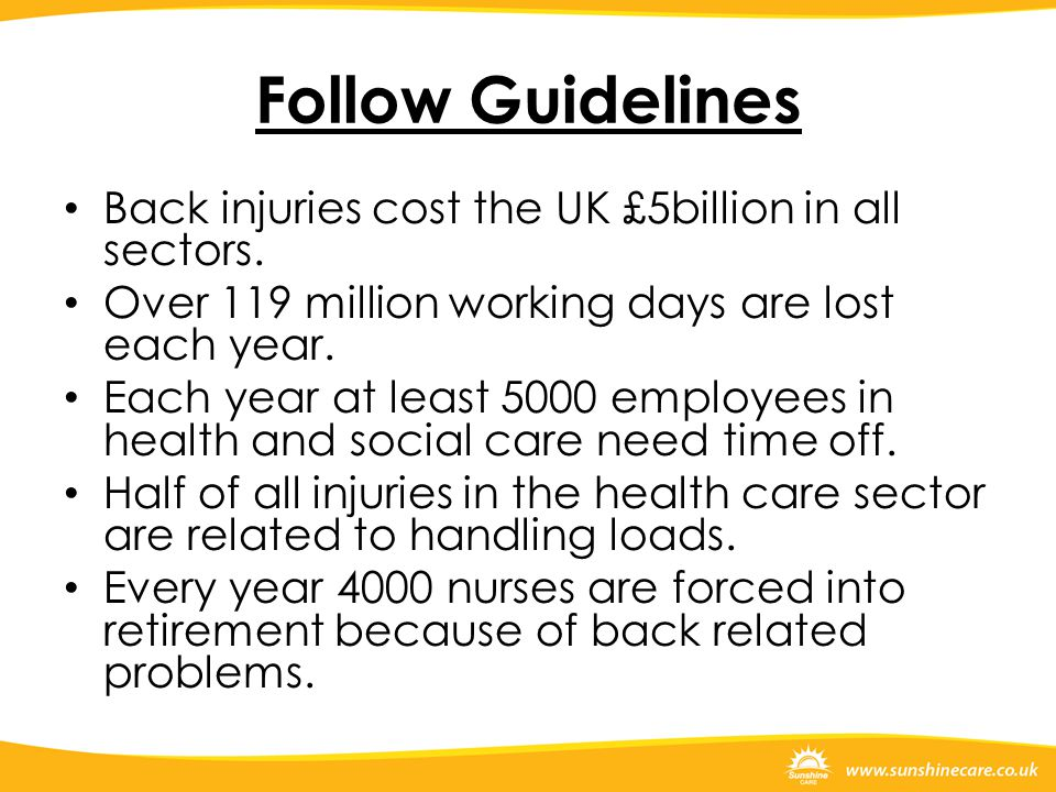 Follow Guidelines Back injuries cost the UK £5billion in all sectors.