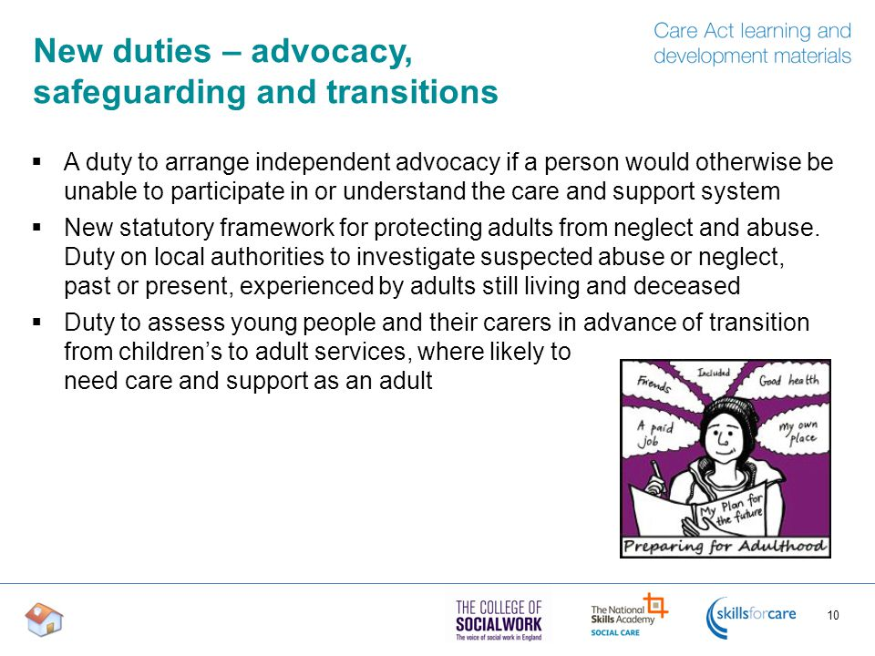 New duties – advocacy, safeguarding and transitions