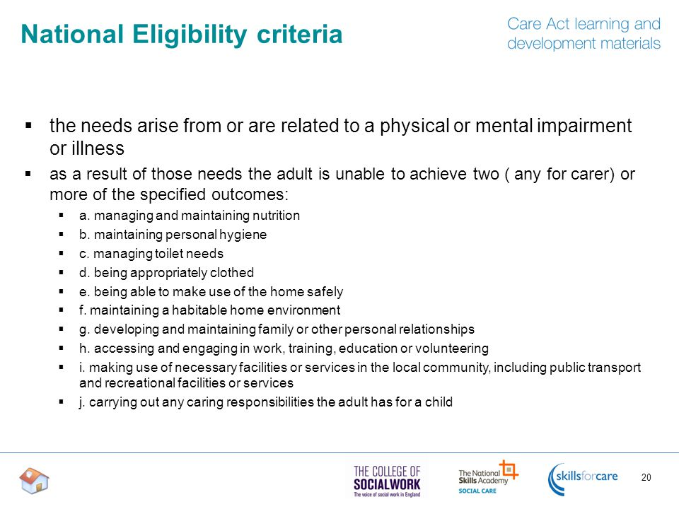 National Eligibility criteria