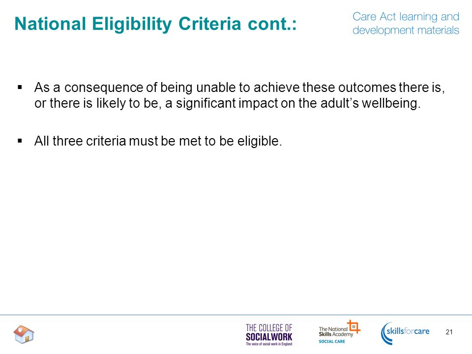 National Eligibility Criteria cont.: