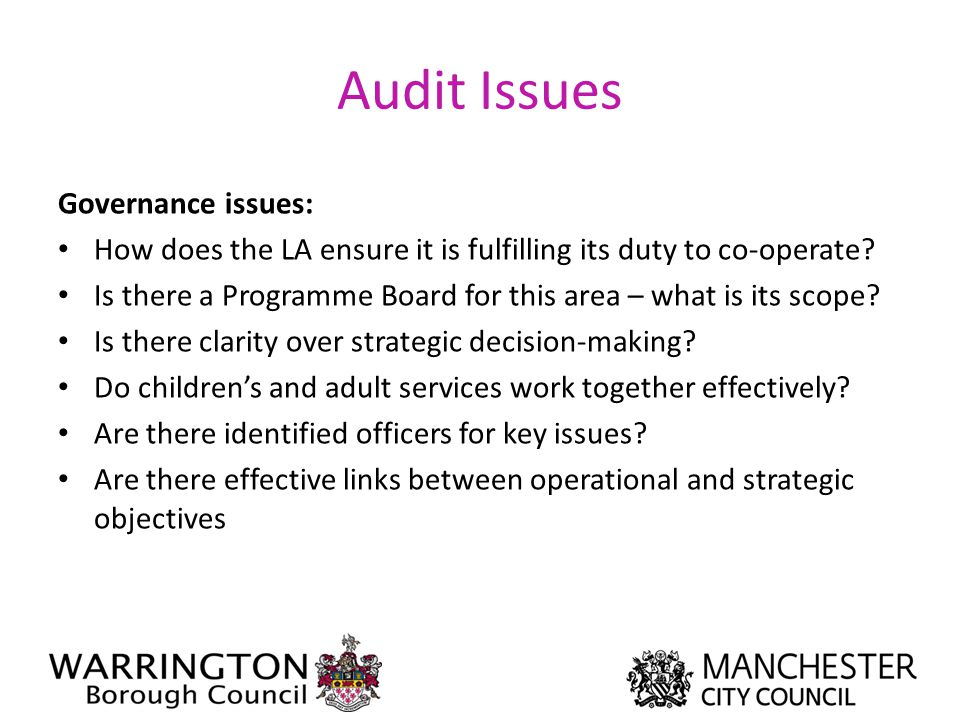 Audit Issues Governance issues: