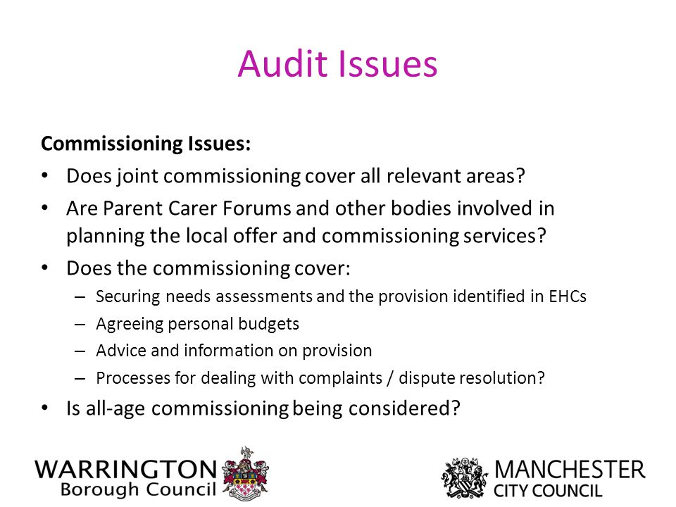 Audit Issues Commissioning Issues:
