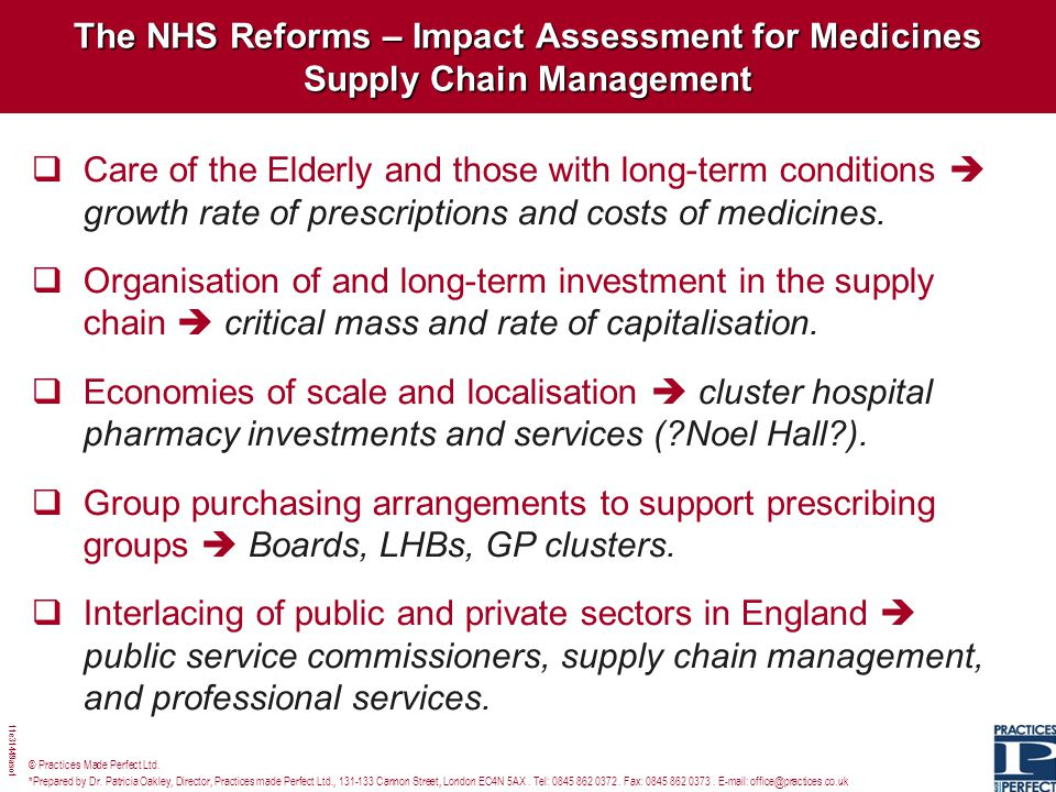The NHS Reforms – Impact Assessment for Medicines Supply Chain Management