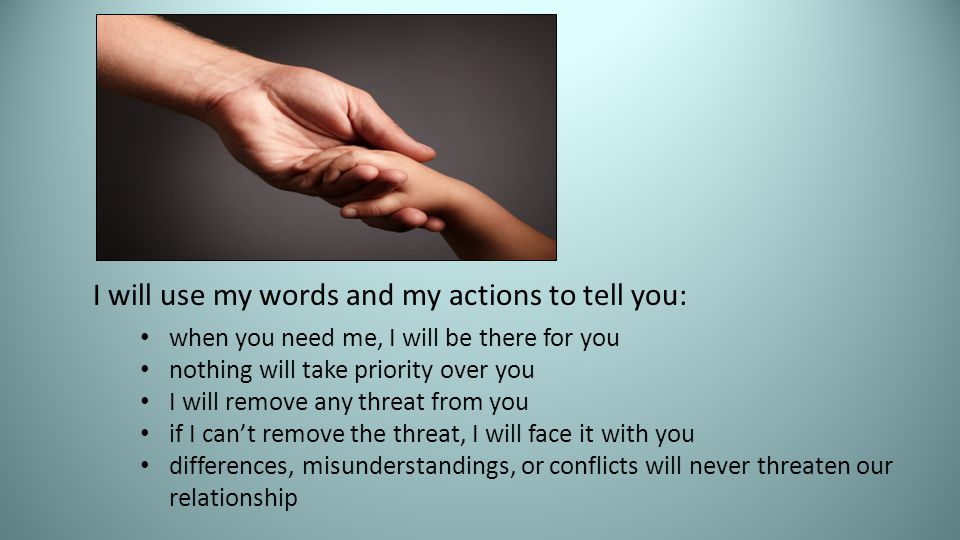 I will use my words and my actions to tell you: