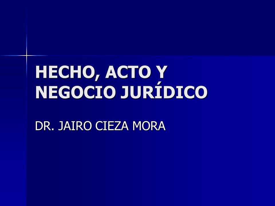 HECHO, ACTO Y NEGOCIO JURÍDICO