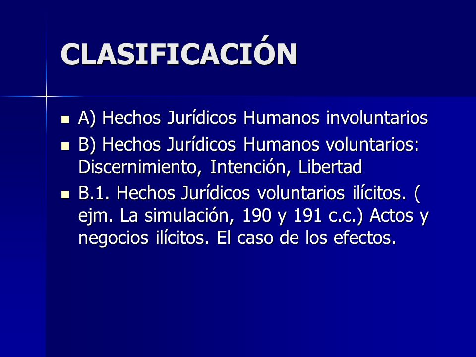 CLASIFICACIÓN A) Hechos Jurídicos Humanos involuntarios