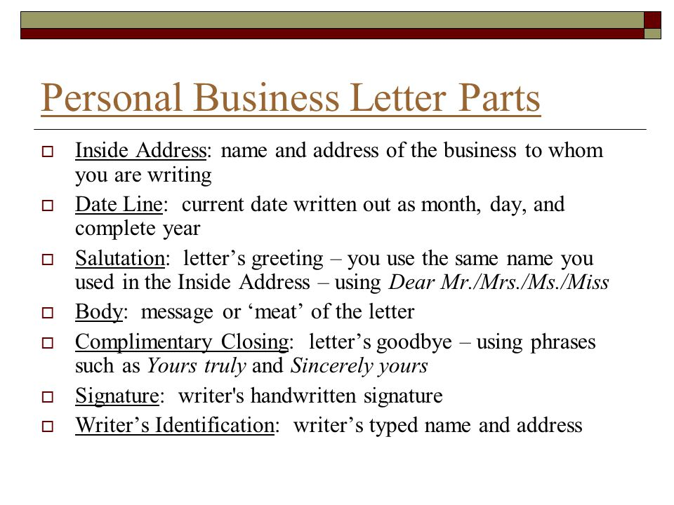 Personal Business Letter Parts