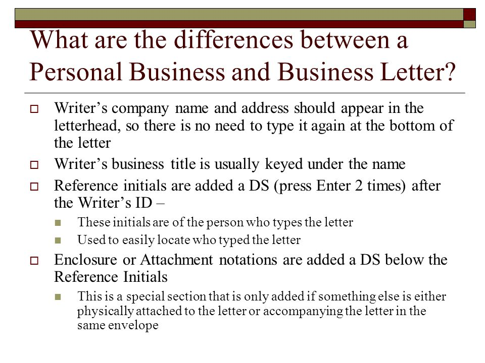 What are the differences between a Personal Business and Business Letter