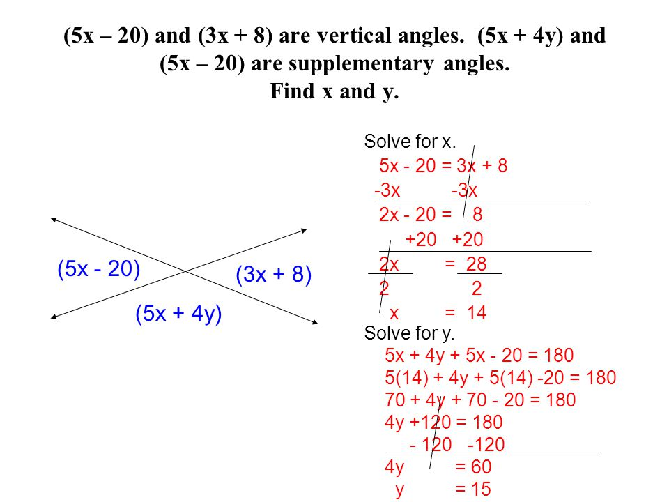 (5x – 20) and (3x + 8) are vertical angles