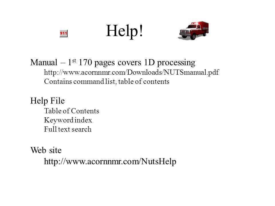 Help! Manual – 1st 170 pages covers 1D processing Help File Web site
