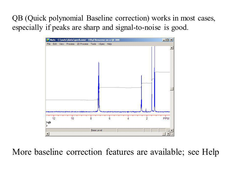 More baseline correction features are available; see Help