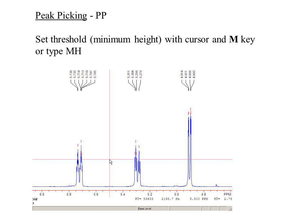 Peak Picking - PP Set threshold (minimum height) with cursor and M key or type MH