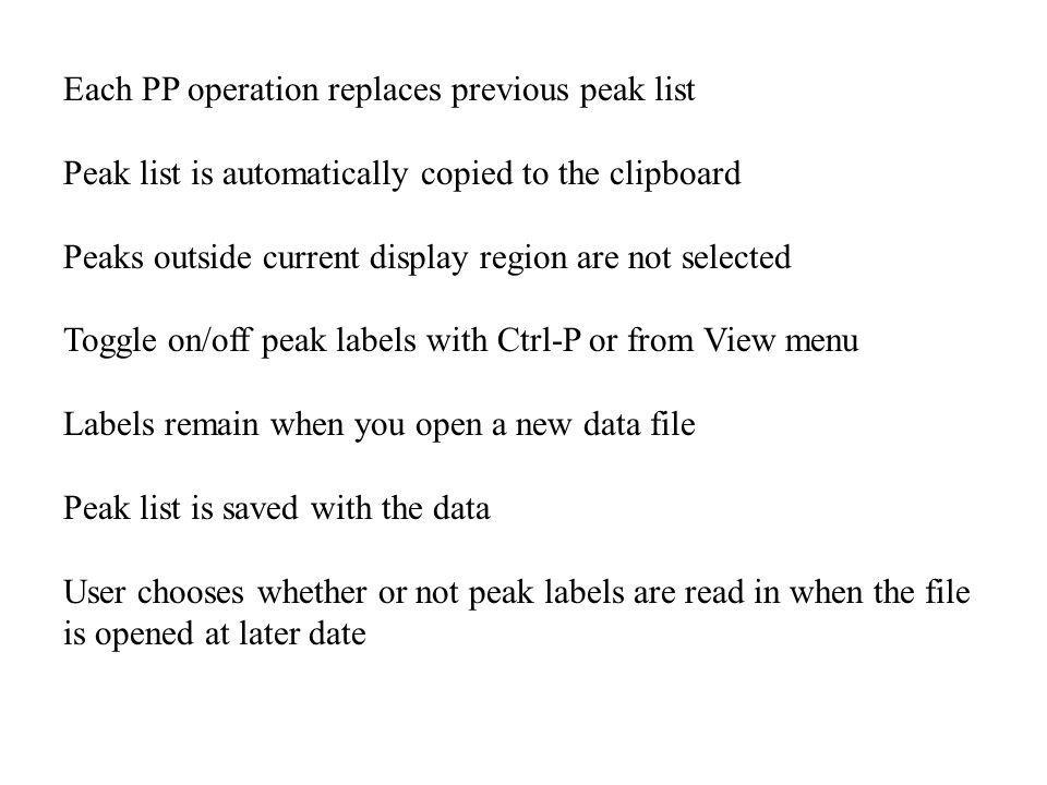 Each PP operation replaces previous peak list