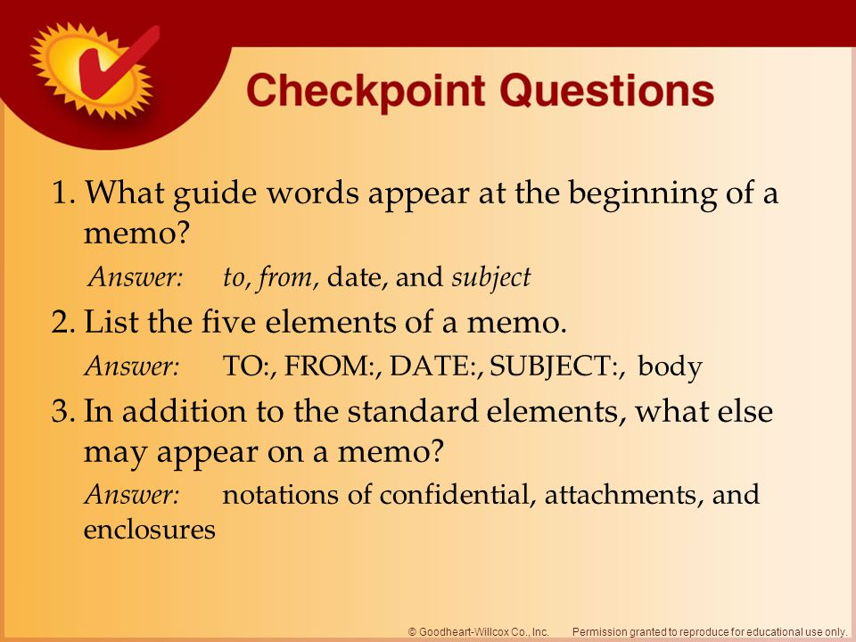 1. What guide words appear at the beginning of a memo