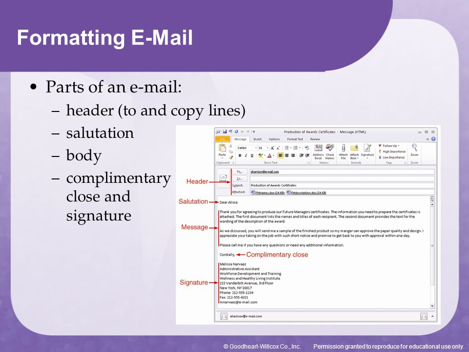 Formatting E-Mail Parts of an e-mail: header (to and copy lines)