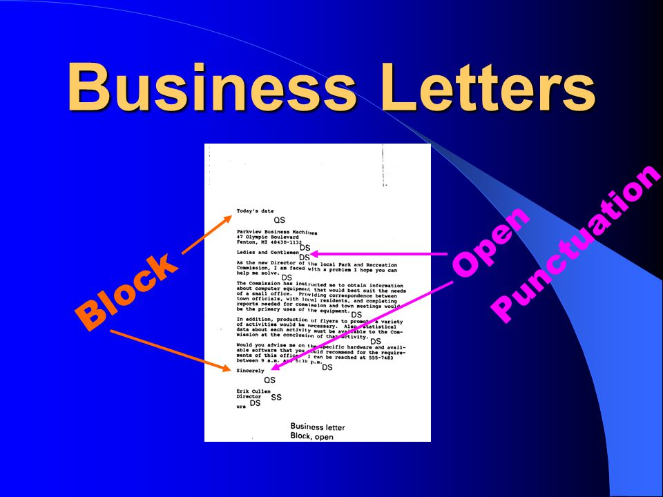 Business Letters Punctuation Open Block
