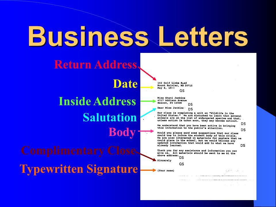 Business Letters Return Address Date Inside Address Salutation Body