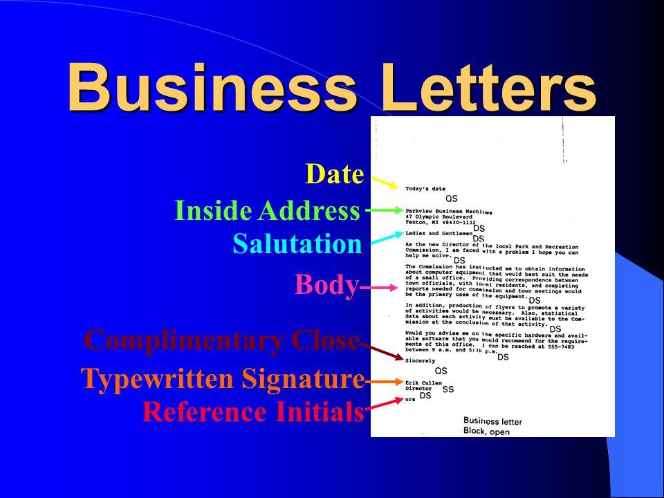 Business Letters Date Inside Address Salutation Body
