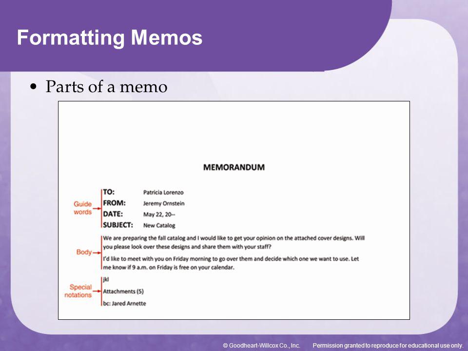 Formatting Memos Parts of a memo