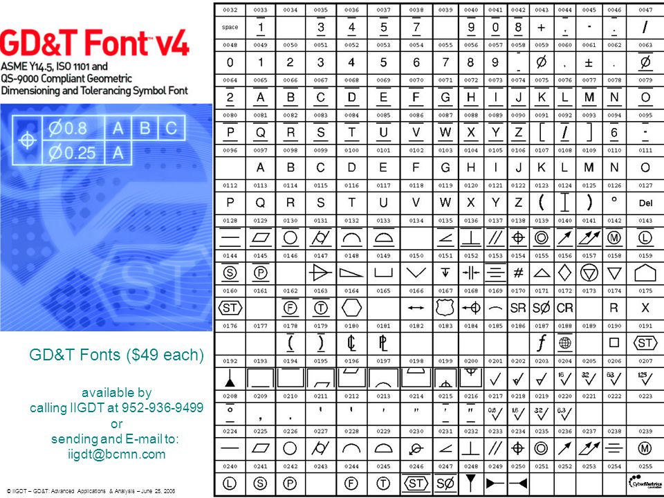 GD&T Fonts ($49 each) available by calling IIGDT at 952-936-9499 or