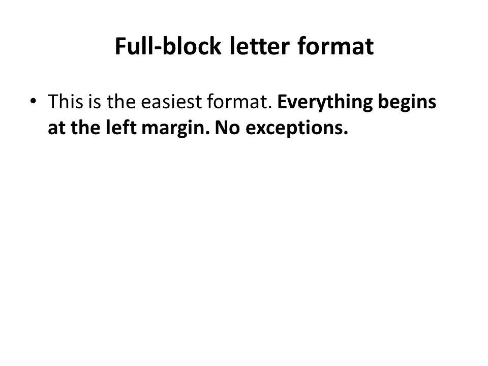 Full-block letter format