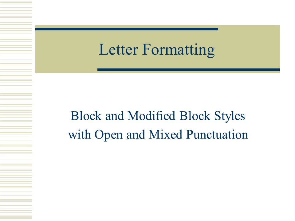 What Is Open Punctuation in a Business Letter?