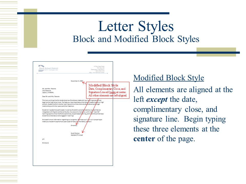 Letter Styles Block and Modified Block Styles