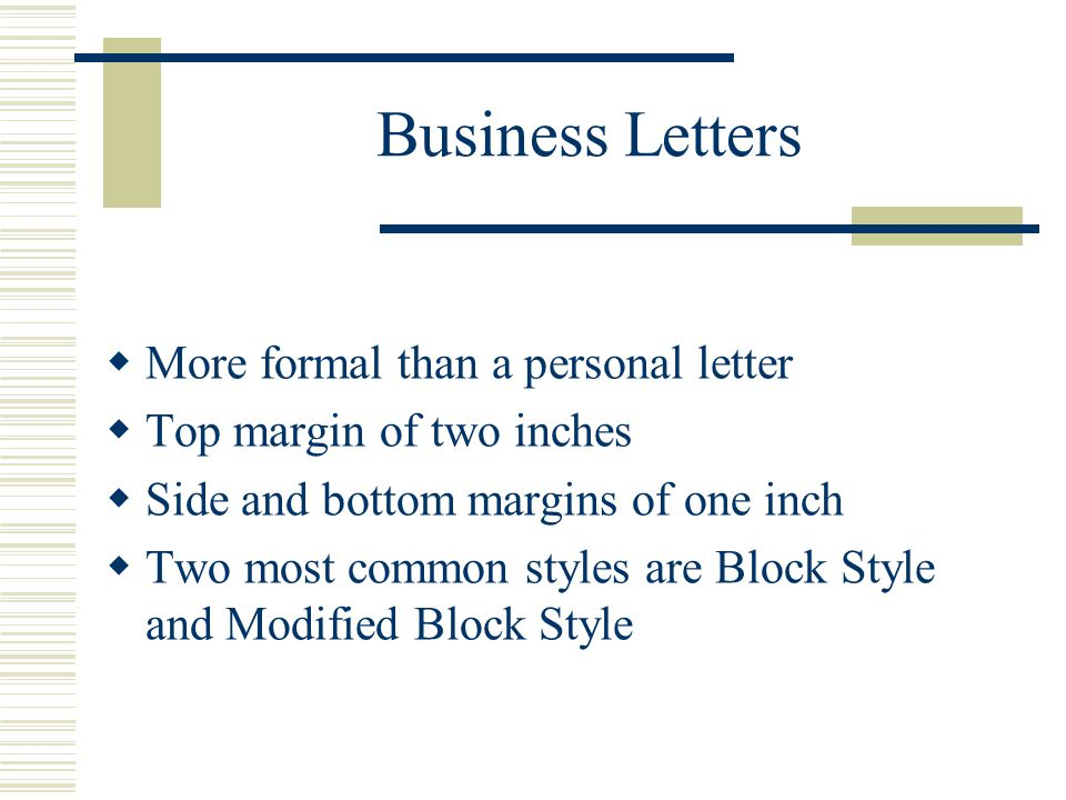 Block and Modified Block Styles with Open and Mixed Punctuation