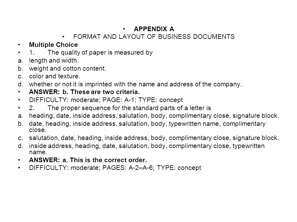 FORMAT AND LAYOUT OF BUSINESS DOCUMENTS