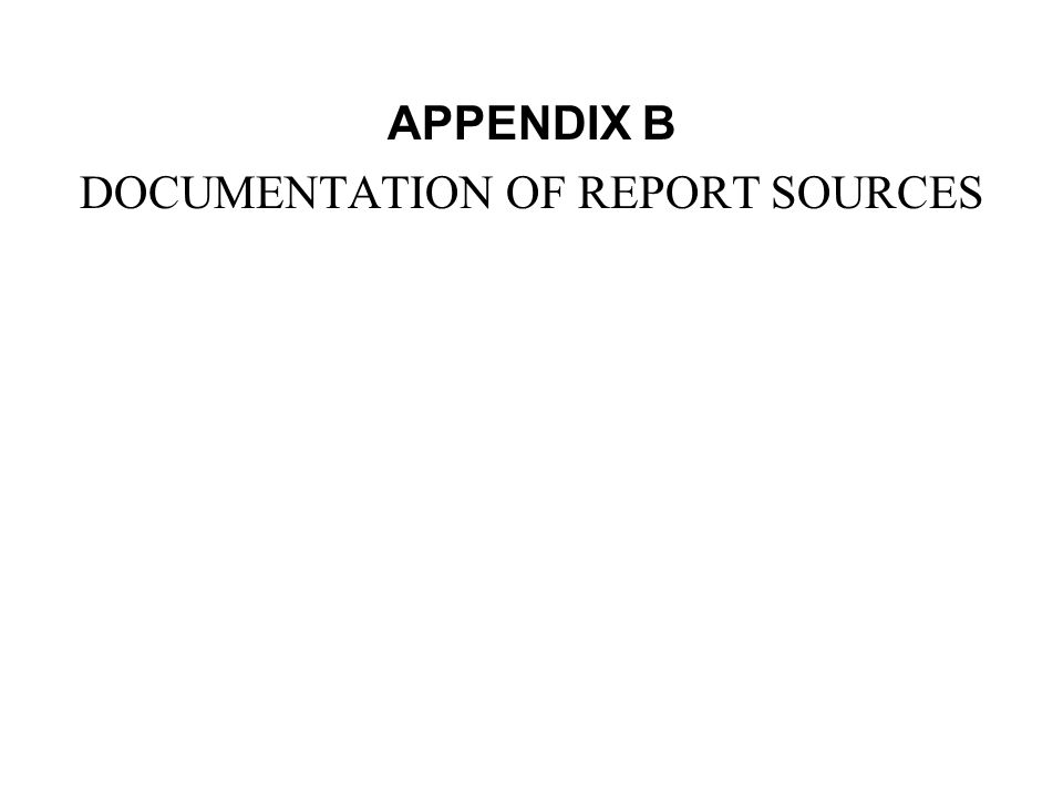 DOCUMENTATION OF REPORT SOURCES
