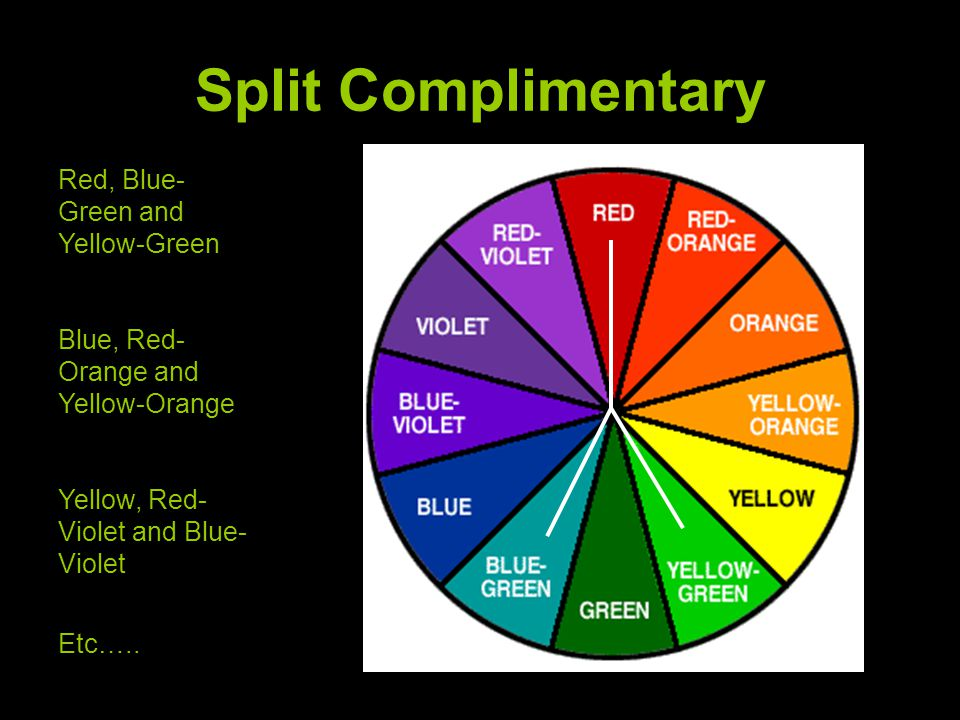 Split Complimentary Red, Blue-Green and Yellow-Green
