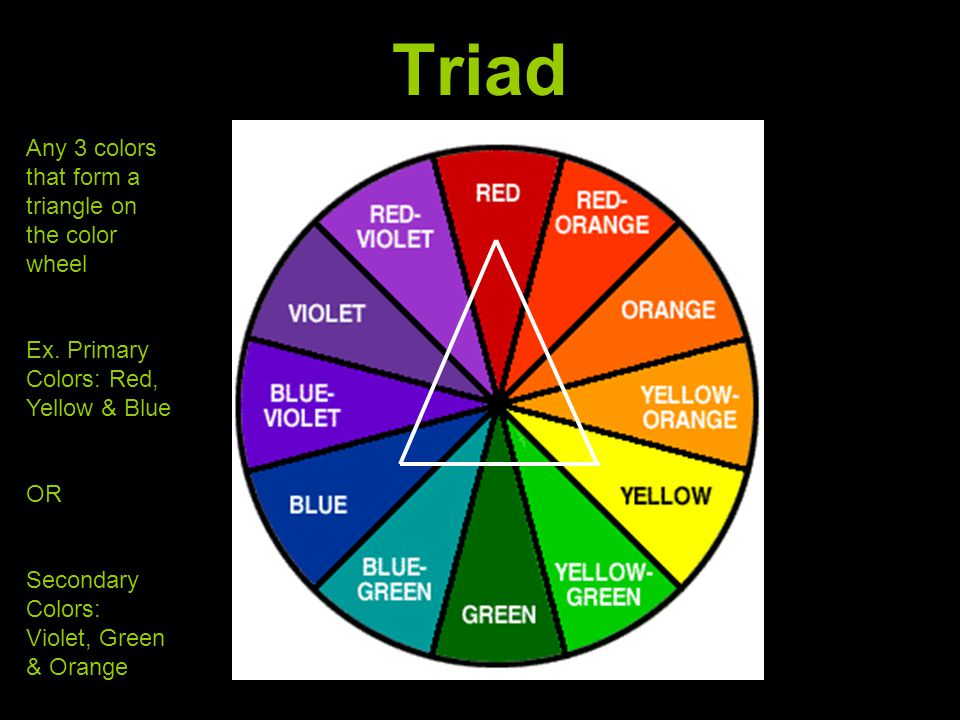 Triad Any 3 colors that form a triangle on the color wheel