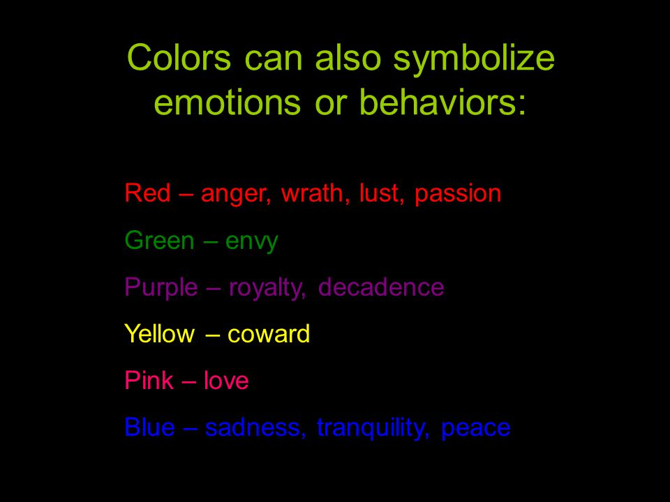 Colors can also symbolize emotions or behaviors: