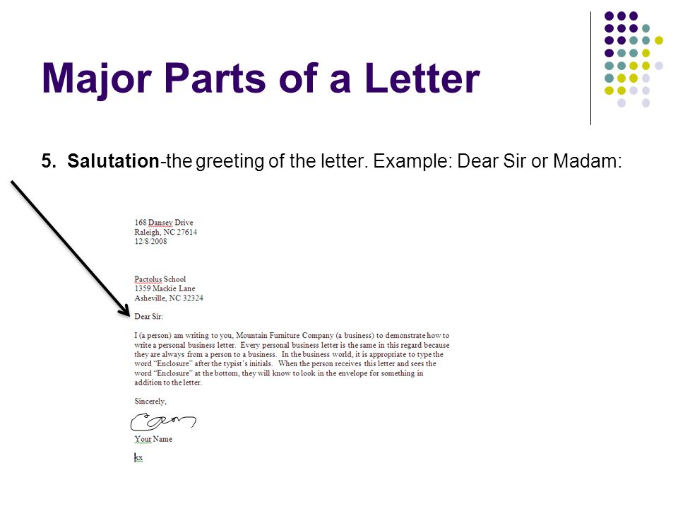 Major Parts of a Letter 5. Salutation-the greeting of the letter. Example: Dear Sir or Madam:
